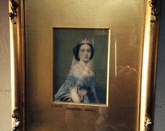 Antique Baxter Print   Princess Royal   Gilt Frame with Gold Matte  Victorian Lithograph