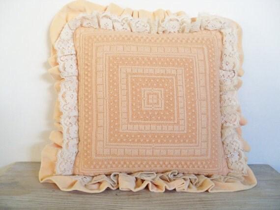 Embroidered Throw Pillow Peach Vintage Ruffled Needlepoint Pillow Geometric Bargello Lace Velvet 1960s