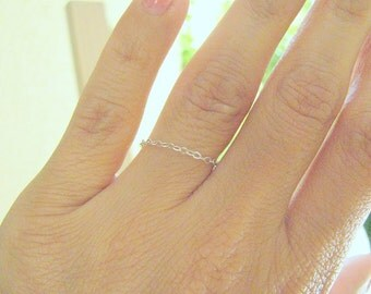 Valentines Day SALE - Chain ring - Thin ring - Silver ring - Stackable ring - Layered ring - Dainty ring