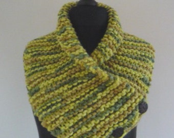 Lime green/moss green/brown chunky hand knitted cowl/scarf