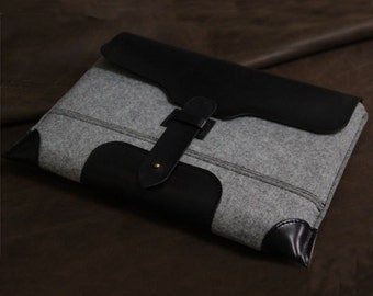 "MacBook 13"" PRO case -Leather laptop sleeve-wool felt leather-macbook briefcase"
