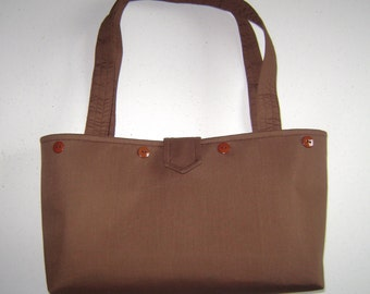 Brown Purse with buttons for Interchangeable Covers