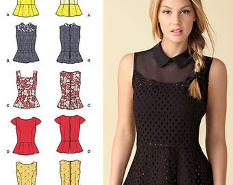 Simplicity Sewing Pattern 1425 Misses' Peplum Tops with Neckline Variations