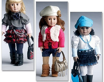 """McCall's Sewing Pattern M6480 Chic Outfits and Accessories for 18"""" Doll"""