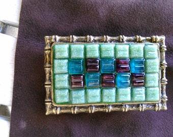 Mosiac tile rectangular Belt buckle hand made belt buckle