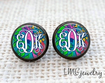 Lilly Pulitzer Inspired Monogram Earrings, Monogram Jewelry, Lilly Monogram, Shake Your Tailfeather Print, Initial Earrings