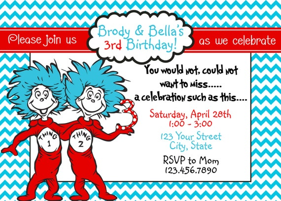 Thing 1 2 Birthday Invitation U Print 4x6 Or By
