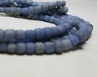 Periwinkle Blue Rustic Glass Bead Indonesian Recycled Glass Bead 4-6mm