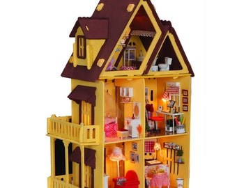 Hand-made wood DIY doll house educational toys,1:12 large house 3d dollhouses,assembled building model,Creative Christmas gift