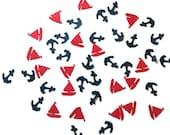 Nautical Confetti,  Anchor and Sailboat, Birthday Decor, Party Decoration, Navy,  Boy's Birthday, Child's Birthday, Navy and Red Confetti