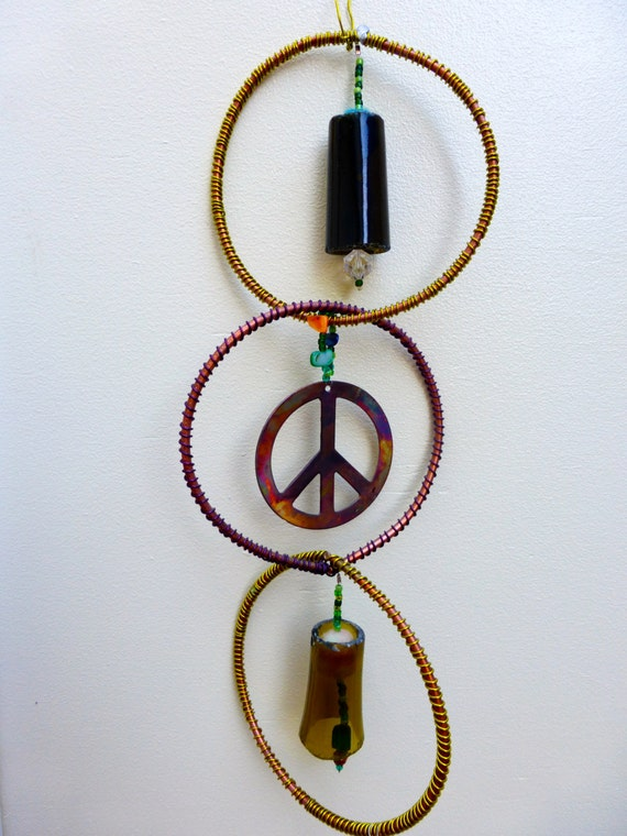 Mobile feng shui decor recycled art zen art peace symbol - Feng shui mobel ...