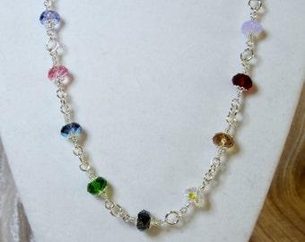 Multi colored Swarovski  8 mm rondelle necklace