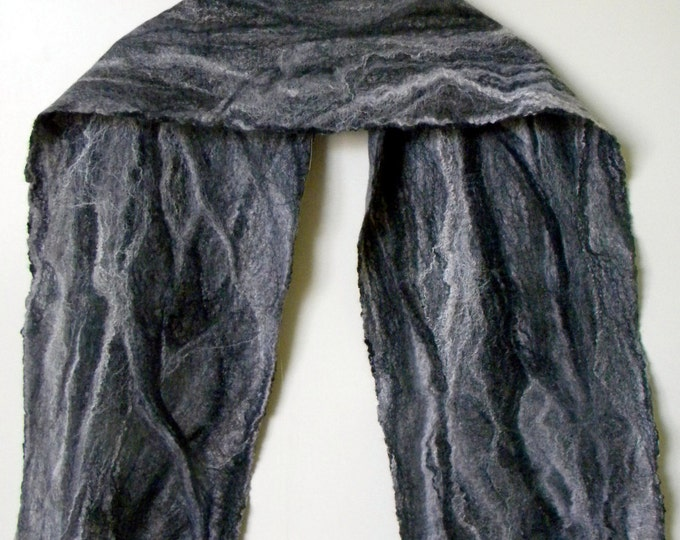 Wool scarf Winter felted scarf Grey men scarf Extra long scarf Unisex scarves Husband Gift Wet felted scarf gift for dad Gift idea men