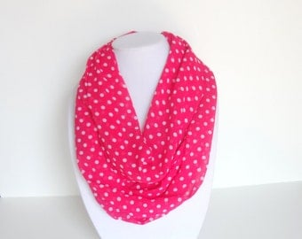 Polka Dots Scarf, Hot Pink Infinity Scarf, Chiffon Lightweight