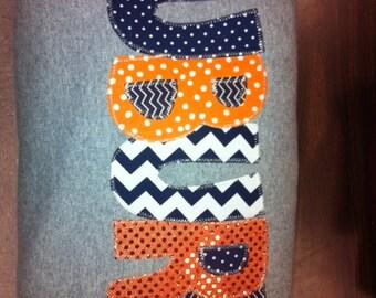 Hand Made Applique Auburn University t shirt or sweatshirt in Adult or Children Sizes