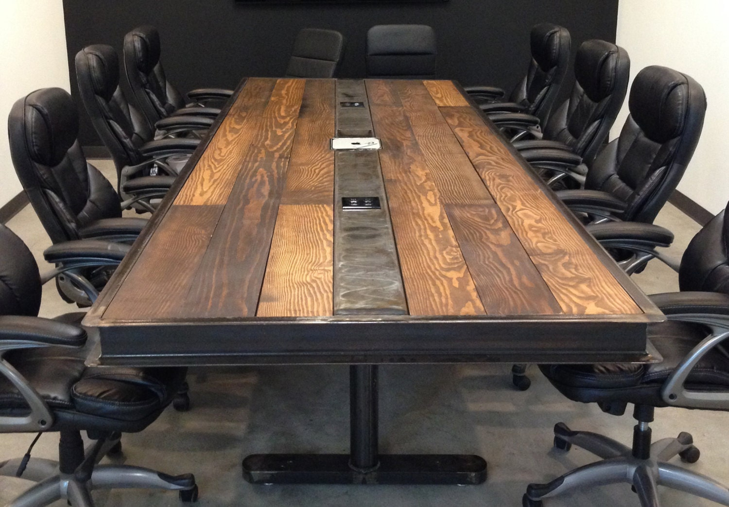 industrial vintage conference room table w raw steel body and. Black Bedroom Furniture Sets. Home Design Ideas