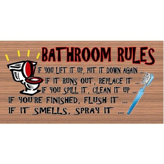 Bathroom Wood Signs Bathroom Rules Plaque Gs019 Bathroom