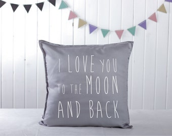 Handmade Decorative Printed Pillow Cover - I love you to the moon and back - Cushion Cover - Natural Material - Perfect Gift -16x16 inches