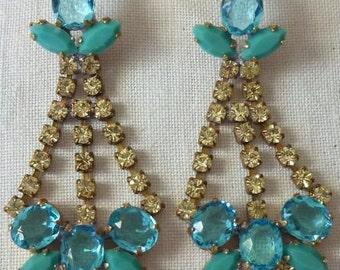 Lovely vintage  aquamarine And  citrine austrian glass earrings