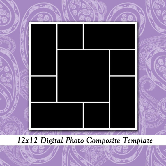 items similar to 12x12 photo template collage design photography template scrapbook template. Black Bedroom Furniture Sets. Home Design Ideas