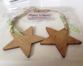 Handmade wooden star decoration hanging christmas tree ornament 2 per pack