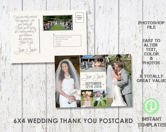 "Wedding Postcard Thank You Template 6""x 4"" Photoshop Template - C2W001"