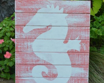 Wood Plank Wall Art Sign Seahorse Coral White Coastal Beach Cottage Nautical Decor
