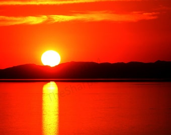 Antelope Island Utah Water Sunset - Landscape Photography Print