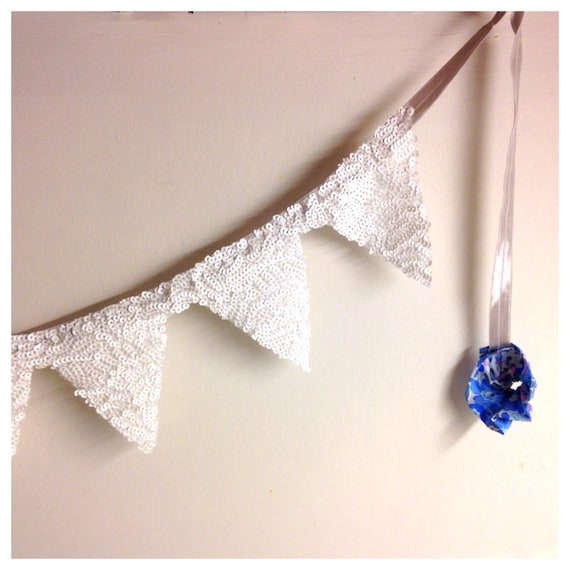 White Sequin garland banner bunting with liberty print Pom Pom other colors available!