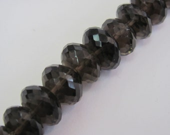 Smoky Quartz Roundelle  All Natural Gemstone Bead Strand