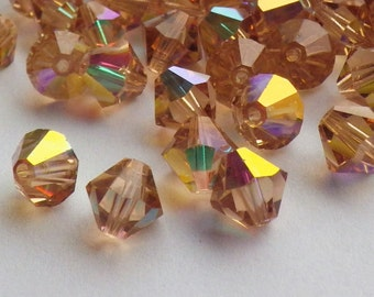 Vintage Swarovski Crystal Beads, 6mm Topaz With Aurore Boreale Finish, Article 5301, 25 Vintage Crystal Beads
