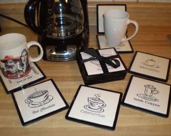 Laser Engraved Coffee Themed Ceramic Tile Coasters, Black and White