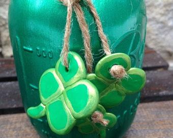 Hand Painted Home Decor. Mason Jars. Kerr Mason Jar. Ball Mason Jar. Sculpey. Center Piece.