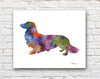 Long Haired Dachshund Art Print - Abstract Watercolor Painting - Wall Decor