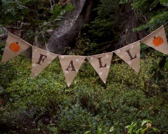 Fall Polka Dot Pumpkin Burlap Banner-Shabby Chic Fall Burlap Banner-Thanksgiving Banner-Fall Banner-Halloween Banner-Autumn Burlap Banner