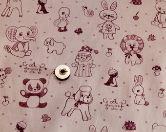 Purple kawaii Japanese cotton fabric 110x100cm, Wonder Girl, animals, toys