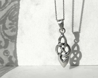 Tiny Pendant, Tiny Necklace, Sterling Silver Chain Necklace, Tribal Pendant, Celtic Style Jewelry, Sterling Silver Jewelry Gift idea, Atigga
