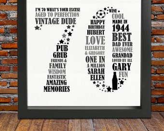 Framed 70th Birthday Gift - 70th birthday, 70th birthday gift, personalized birthday print, unique 70th birthday, 70th birthday for him