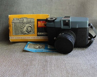 1960's Vintage Blue and Black Diana Plastic Camera with Box and Instruction Book