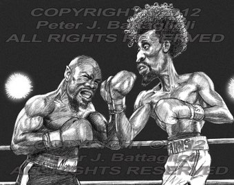 """Marvin Hagler vs Thomas Hearns """"The War"""" Caricature Poster Limited Edition Art Print"""