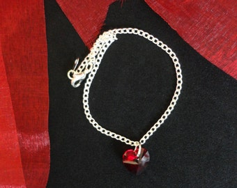 Outlander Inspired Anklet or Bracelet, Blood Red Crystal Heart for Their Love