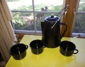 Vintage Black with White Spots Enamelware Tea Pot and Three Cups