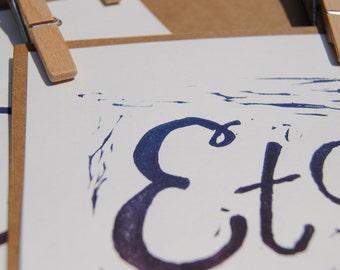 Etc. | Blue and Purple Ombre | Rectangular on white | Handpulled Print | Framed or unframed