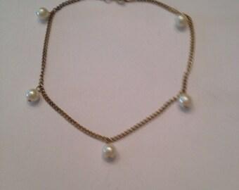 Vintage Pearl Chain Bracelet Costume Jewelry