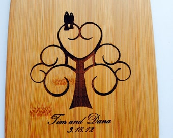 Custom Bamboo Cutting Board - Your names and dates - Wedding, House Warming Gift