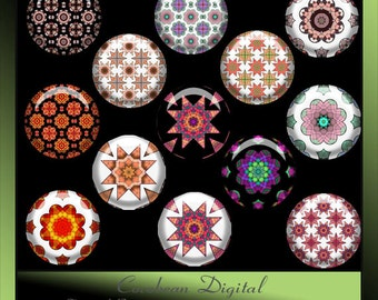 Digital Fancy Tile4 1inch circle button collage for Instant Download