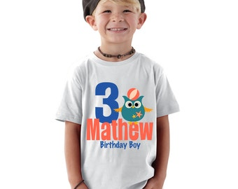 Personalized 3 years old birthday boy Nautical Owl  kids shirt or baby Shirt