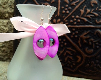 Light Purple Almond Shaped Mother-of-Pearl Open Center with Multicolored Rondelles Dangle Earrings