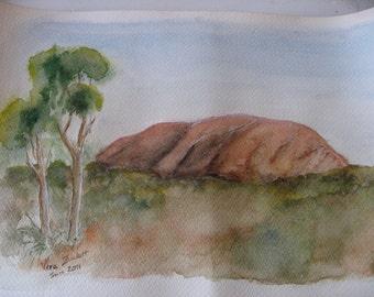 Watercolor of Uluru,  formerly known as Aryers Rock