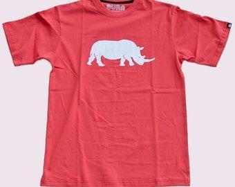 SALE ITEM! Mens T-Shirt by BURA Clothing. Rhino. Red. 100% Cotton.